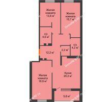 3 комнатная квартира 91,6 м² в ЖК Айвазовский, дом ГП 2 Дом «Средиземный» - планировка