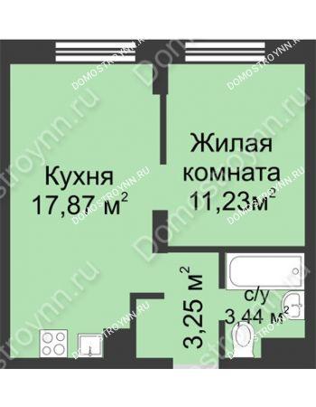1 комнатная квартира 35,79 м² - ЖК Университетский