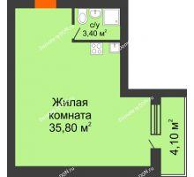 Студия 43,3 м² в ЖК Сиреневый квартал, дом Секция 2 - планировка