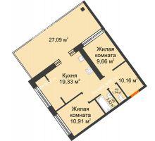 """2 комнатная квартира 54,62 м² в Микрорайон Звездный, дом ГП-1 (Дом """"Меркурий"""") - планировка"""