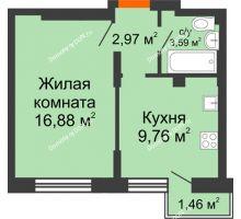 1 комнатная квартира 34,61 м², ЖК Онегин - планировка
