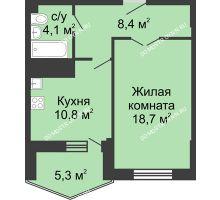 1 комнатная квартира 47,3 м² в ЖК Монолит, дом № 89, корп. 3 - планировка