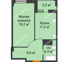 1 комнатная квартира 43,9 м² в ЖК Квартет, дом № 3 - планировка
