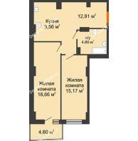 2 комнатная квартира 62,02 м² в ЖК Сердце Ростова 2, дом Литер 8 - планировка
