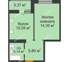 1 комнатная квартира 36,03 м² в ЖК Губернский, дом Литер 29 - планировка