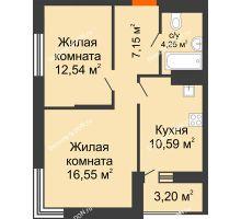 2 комнатная квартира 52,68 м², ЖК ПАРК - планировка