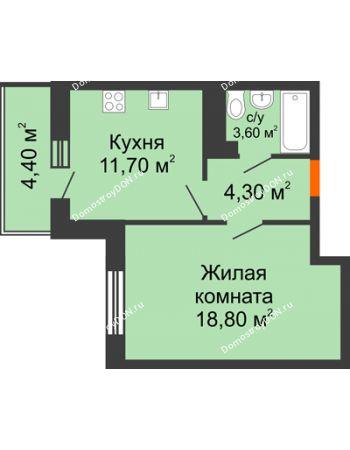 1 комнатная квартира 40,5 м² в ЖК Я, дом  Литер 2