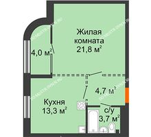 1 комнатная квартира 45,5 м², ЖК Лайнер на Барминской - планировка