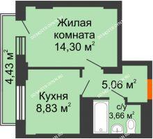 1 комнатная квартира 34,09 м², ЖД Весна - планировка