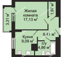 1 комнатная квартира 41,12 м², ЖК Гелиос - планировка