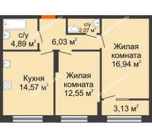 2 комнатная квартира 58,62 м² в ЖК Маленькая страна, дом № 4 - планировка