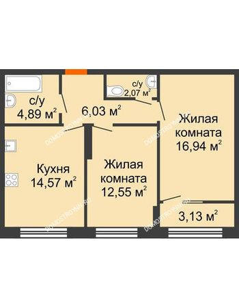 2 комнатная квартира 58,62 м² в ЖК Маленькая страна, дом № 4