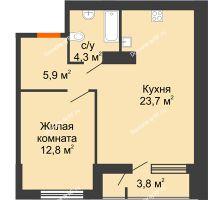 1 комнатная квартира 46,7 м², Жилой дом Фамилия - планировка