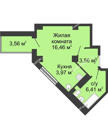 Студия 32,18 м² в ЖК Мега, дом № 2