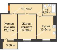 2 комнатная квартира 57,45 м², Жилой дом: г. Дзержинск, ул. Буденного, д.11б - планировка