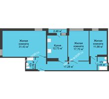 3 комнатная квартира 99,2 м² в ЖК Военвед-Сити, дом № 2 - планировка