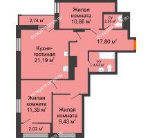 4 комнатная квартира 79,93 м², ЖК Каскад на Менделеева - планировка
