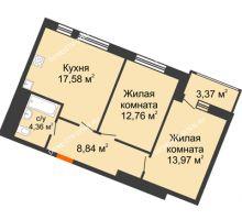 2 комнатная квартира 60,88 м² в ЖК Книги, дом № 2 - планировка