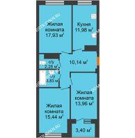 3 комнатная квартира 77,99 м² в ЖК Облака, дом № 2 - планировка