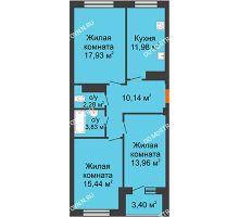 3 комнатная квартира 78,09 м² в ЖК Облака, дом № 2 - планировка