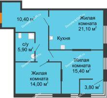 3 комнатная квартира 71,6 м², ЖК Островский - планировка