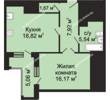 1 комнатная квартира 52,65 м², ЖК Гелиос - планировка