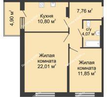 2 комнатная квартира 61,39 м² в ЖК Времена Года, дом № 1