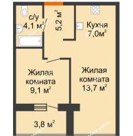 2 комнатная квартира 41 м² в ЖК SCANDIS OZERO(Скандис Озеро), дом № 1 - планировка