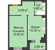 2 комнатная квартира 39,9 м² в Микрорайон Прибрежный, дом № 8 - планировка