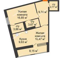 1 комнатная квартира 61,09 м², ЖК Русский Авангард - планировка