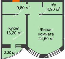 1 комнатная квартира 52,3 м², ЖК по ул. Циолковского - планировка
