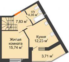 2 комнатная квартира 85,08 м² в ЖК Бунина парк, дом 3 этап, блок-секция 3 С - планировка