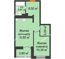1 комнатная квартира 43 м² в ЖК КМ Анкудиновский парк, дом № 16 - планировка