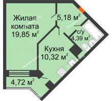 1 комнатная квартира 42,1 м², ЖД Эльбрус - планировка