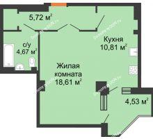1 комнатная квартира 45,38 м², ЖК Гармония - планировка