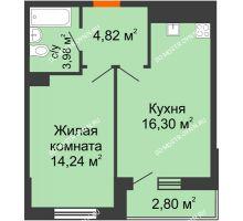 1 комнатная квартира 42,14 м² - ЖК Комарово