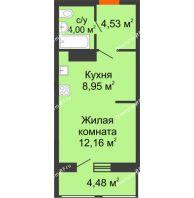 Студия 32 м² в Макрорайон Амград, дом № 1 - планировка