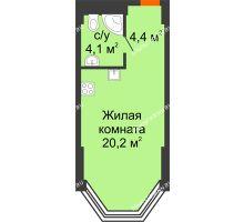 Студия 28,7 м², Комплекс апартаментов KM TOWER PLAZA (КМ ТАУЭР ПЛАЗА) - планировка