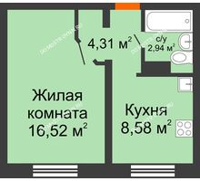1 комнатная квартира 32,35 м² в ЖК Торпедо, дом № 18 - планировка