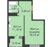 1 комнатная квартира 38 м², ЖК Вершина - планировка