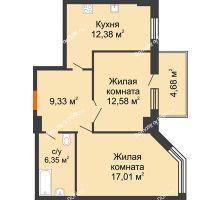 2 комнатная квартира 59,05 м², ЖК Максим Горький - планировка