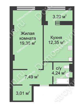 1 комнатная квартира 48,07 м² в ЖК Караваиха, дом № 5
