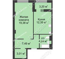 1 комнатная квартира 48,07 м² в ЖК Караваиха, дом № 5 - планировка
