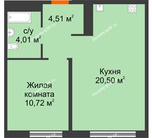 1 комнатная квартира 39,74 м² в ЖК Акватория, дом ГП-1 - планировка