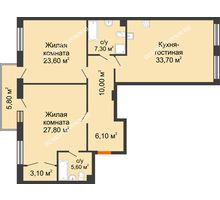 2 комнатная квартира 119,17 м² в ЖК Георгиевский, дом 2а - планировка