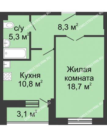 1 комнатная квартира 46,2 м² в ЖК Монолит, дом № 89, корп. 3