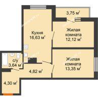 2 комнатная квартира 58,61 м² в ЖК Рассвет, дом № 8 - планировка