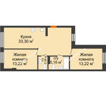 2 комнатная квартира 66,98 м², ЖК Шаляпин - планировка