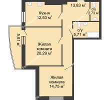 2 комнатная квартира 75 м² в ЖК Тихий Дон, дом № 1 - планировка