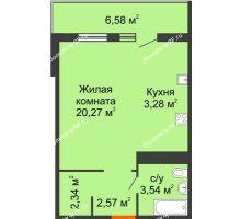 Студия 33,97 м² в ЖК Все свои, дом Литер 5 - планировка